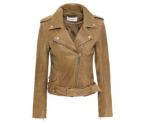 Daria Textured-leather Biker Jacket