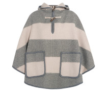 Honor Hooded Striped Wool-blend Twill Cape Neutral