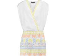 Embroidered cotton-blend canvas mini dress