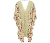 Dalia Crocheted Lace-paneled Floral-print Voile Kaftan