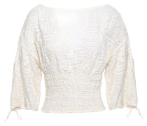 Tulip Shirred Embroidered Cotton-gauze Top