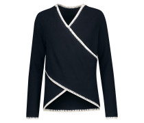 Wrap-effect Cotton And Cashmere-blend Sweater Mitternachtsblau