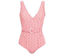 Yasmin Wrap-effect Belted Seersucker Swimsuit