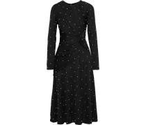 Woman Lugu Twist-front Embellished Ribbed Jersey Midi Dress Black