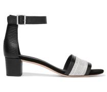 Raine Paneled Lizard-effect Leather Sandals Schwarz