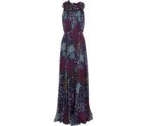 Ruffled Printed Silk-chiffon Gown Mitternachtsblau