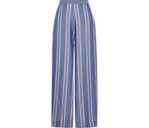 Striped Tencel-chambray Wide-leg Pants