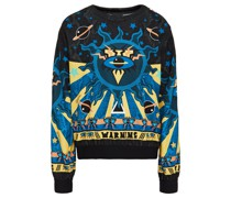 Jacquard-trimmed Printed Stretch-jersey Sweatshirt