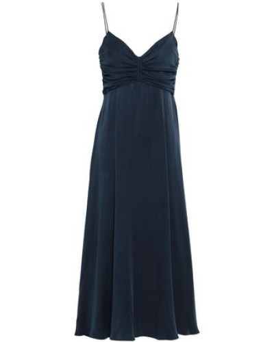 Fluted Ruched Washed-silk Midi Dress Navy Size 0