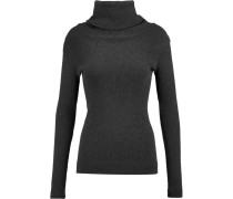 Ribbed Cotton And Cashmere-blend Turtleneck Sweater Dunkelgrau