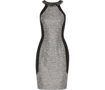 Winter Embellished Metallic Bouclé-tweed And Crepe Dress Silber