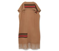 Leather-trimmed Fringed Striped Wool And Cashmere-blend Cape