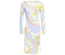 Belted Printed Stretch-jersey Dress