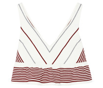 Annaline Cropped Striped Crepe Top Elfenbein