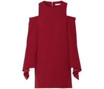 Cold-shoulder stretch-crepe mini dress
