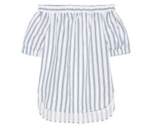 Off-the-shoulder striped linen top