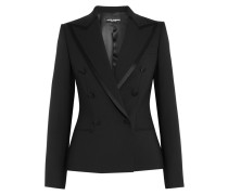 Satin-trimmed Stretch Wool And Silk-blend Blazer Schwarz