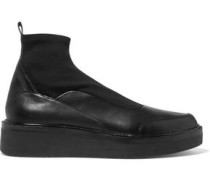 Karen stretch knit-paneled leather slip-on sneakers