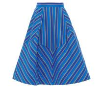 Flared Striped Cotton-blend Seersucker Skirt