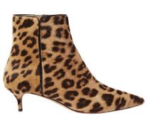 Woman Quant Leopard-print Calf Hair Ankle Boots Animal Print