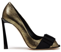 Bow-embellished Metallic Cracked-leather Pumps