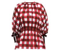 June Velvet-trimmed Checked Cotton And Silk-blend Top Crimson