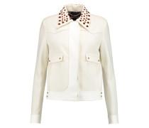 Embellished Suede-trimmed Crepe Jacket Ecru