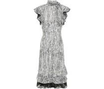 Bedrucktes Kleid aus Georgette mit Rüschen und Spitzenbesatz
