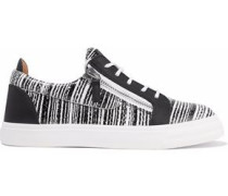 London printed smooth and snake-effect leather sneakers