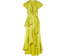 Juliette Cutout Ruffled Silk-blend Satin-crepe Midi Dress