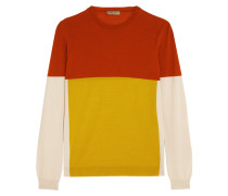 Color-block Merino Wool Sweater Gelb