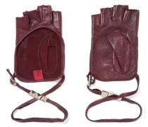 Studded Leather Fingerless Gloves Merlot
