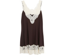 Layered Silk Lace-trimmed Wool-blend Piqué Dress Plaume