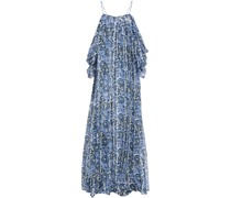 Cold-shoulder Floral-print Silk-voile Maxi Dress