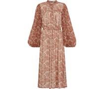 Gathered Printed Silk-chiffon Midi Dress