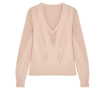 Fringe-trimmed Pointelle-knit Sweater Neutral