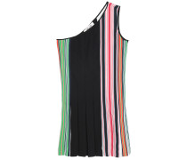 One-shoulder Striped Stretch-knit Mini Dress
