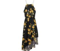 Bergen asymmetric ruffled floral-print silk dress