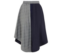 Asymmetric Paneled Prince Of Wales Checked Jacquard And Twill Skirt