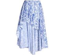 Ruffle-trimmed printed cotton-blend midi skirt