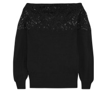 Bead-embellished Wool And Cashmere-blend Sweater Schwarz