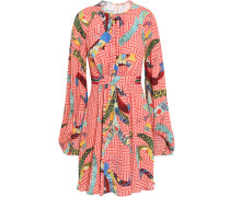 Belted Gathered Crepe De Chine Mini Dress