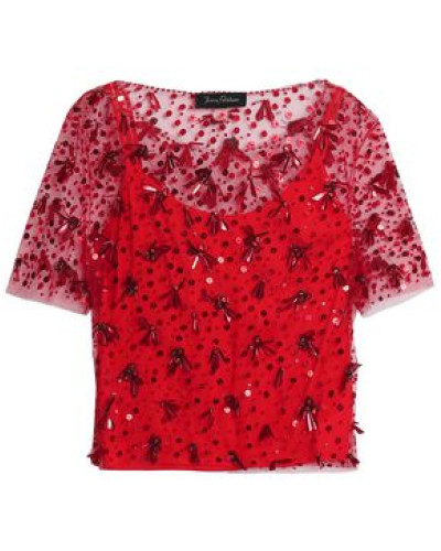 Embellished Tulle Top Red