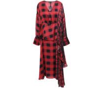 Veronica Asymmetric Layered Checked Satin Midi Dress Crimson