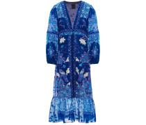 Ruched Printed Silk-chiffon Midi Wrap Dress