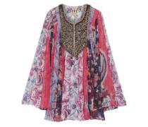 Marisa embellished printed silk crepe de chine top