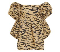 Kayla Cutout Tiger-print Cotton-poplin Top