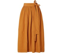 Pleated Broadcloth Wrap Skirt