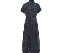 Pleated Printed Linen-blend Midi Dress