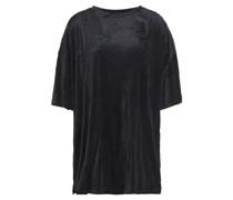 T-shirt aus Samt in Knitteroptik aus Einer Modalmischung
